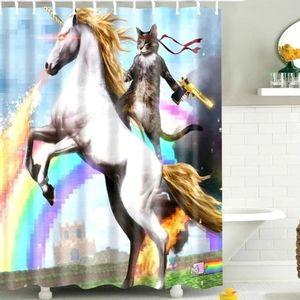 🦄🌈🐈⬛ Cat riding a unicorn shower curtai